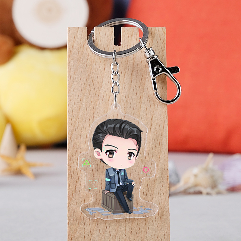Game Detroit: Become Human RK800 Acrylic Keychain  AX400 RK200 Cosplay Props Pendant Keyrings