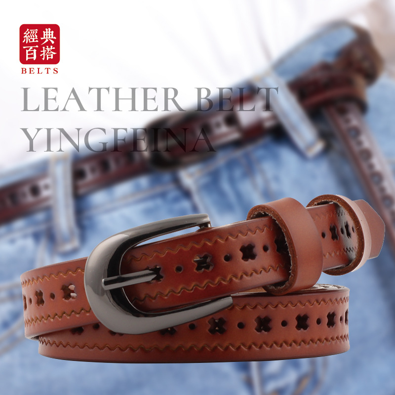 Women's Hollow Cowhide Leather Pin Buckle Thin Belt Jeans Vintage Wild Luxury Fashion High-grade Belt Student  P97