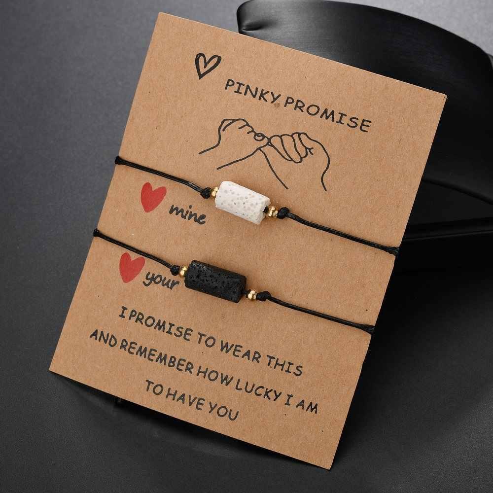 Conjunto de pulseiras de pedra lava para casais, melhor amigos, pulseiras para mulheres, homens, coração, estrela, bússola redonda, pulseira infinita, 2 pçs/set, joias desejadas