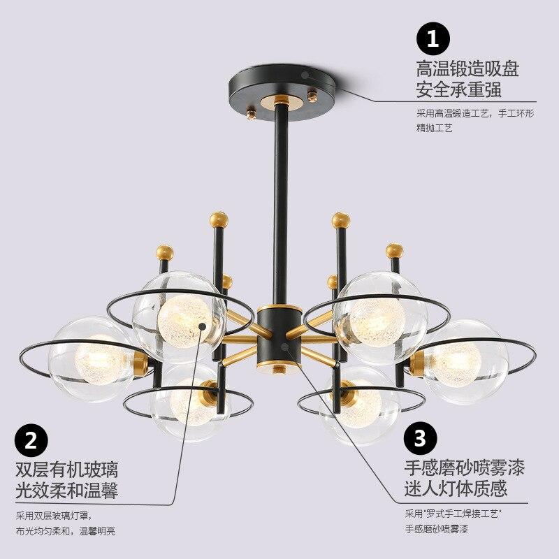 Modern Black LED chandelier lighting Iron glass luminaires home deco fixtures for bedroom restaurant living room hanging lamp in Chandeliers from Lights Lighting