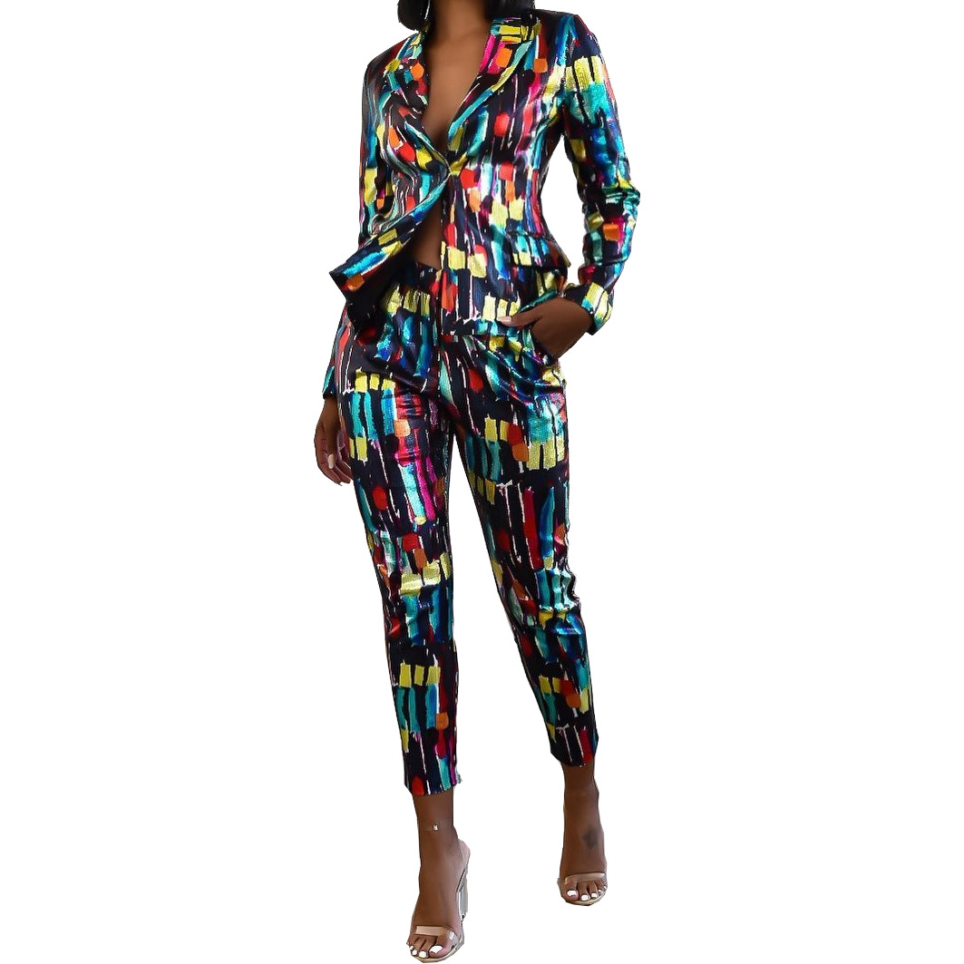 2020 Europe and the United States autumn women's new fashion casual printing small suit suit color set commute