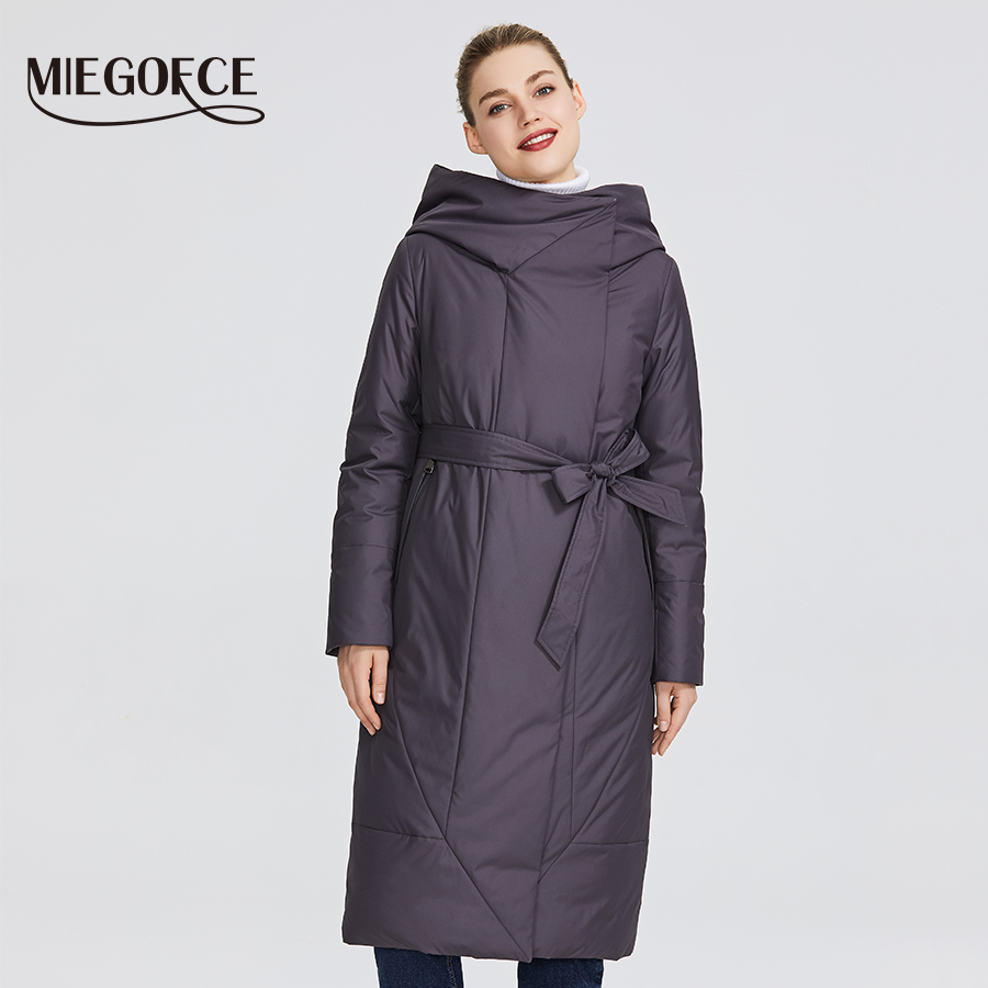 MIEGOFCE 2019 New Collection Women's Coat With a Persistent Collar Padded Jacket and Has a Belt That Will Emphasize The Figure-in Parkas from Women's Clothing    1