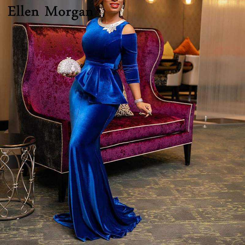 Royal Blue Velvet Mermaid   Prom     Dresses   for Women Wear 2019 Boat Neck 3/4 Long Sleeves Party Gowns for African Black Girls