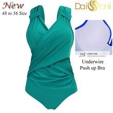 Женский купальник пуш ап, Цельный купальник размера плюс, большие размеры, однотонные купальные костюмы для плавания, пляжная одежда 48 56