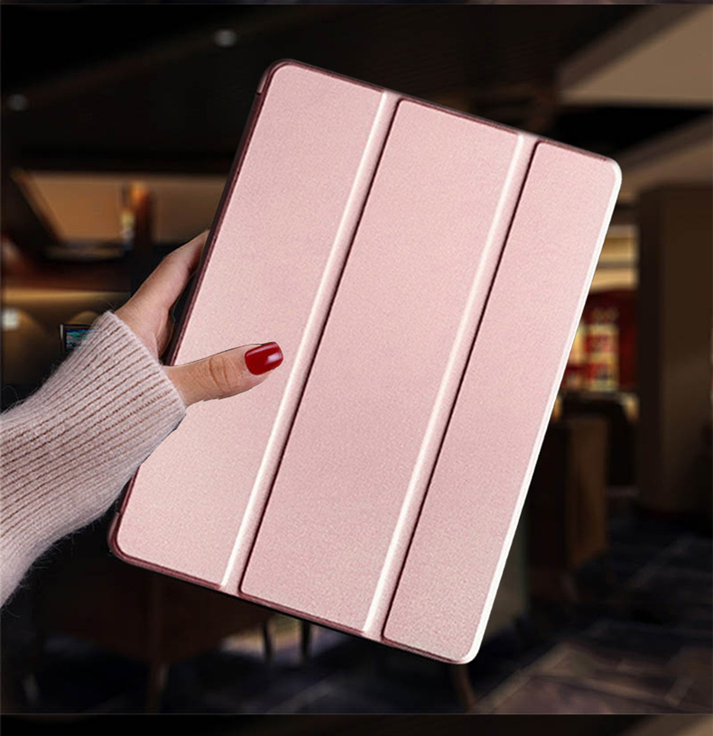 Rose gold Yellow Tablet case for Apple iPad 10 2 2019 iPad 7 7th Generation Flip Stand Case Trifold