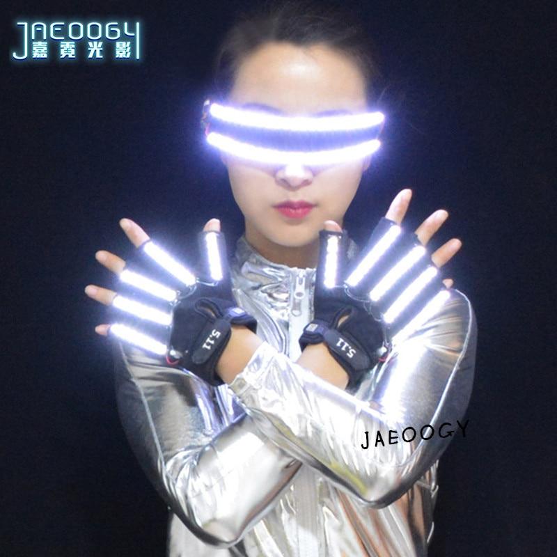 Óculos de led personalidade criativa brilhante led luvas dia das bruxas natal palco dj cantor executando fluorescente laser mostrar