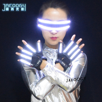 LED Glasses Creative Personality Glowing LED Gloves Halloween Christmas Stage DJ Singer Performing Fluorescent Laser Show