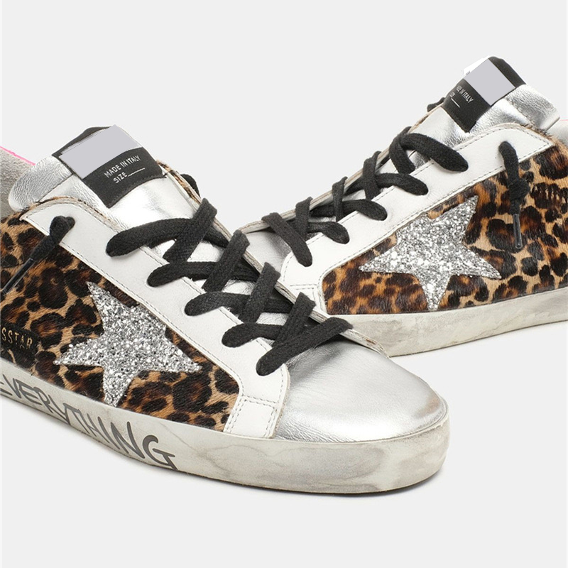 Spring/Autumn  New Children's  Leopard Print Horsehair Retro Dirty Dirty Kid Shoes Sequined Stars Casual Parent-child Shoes QZ22 5