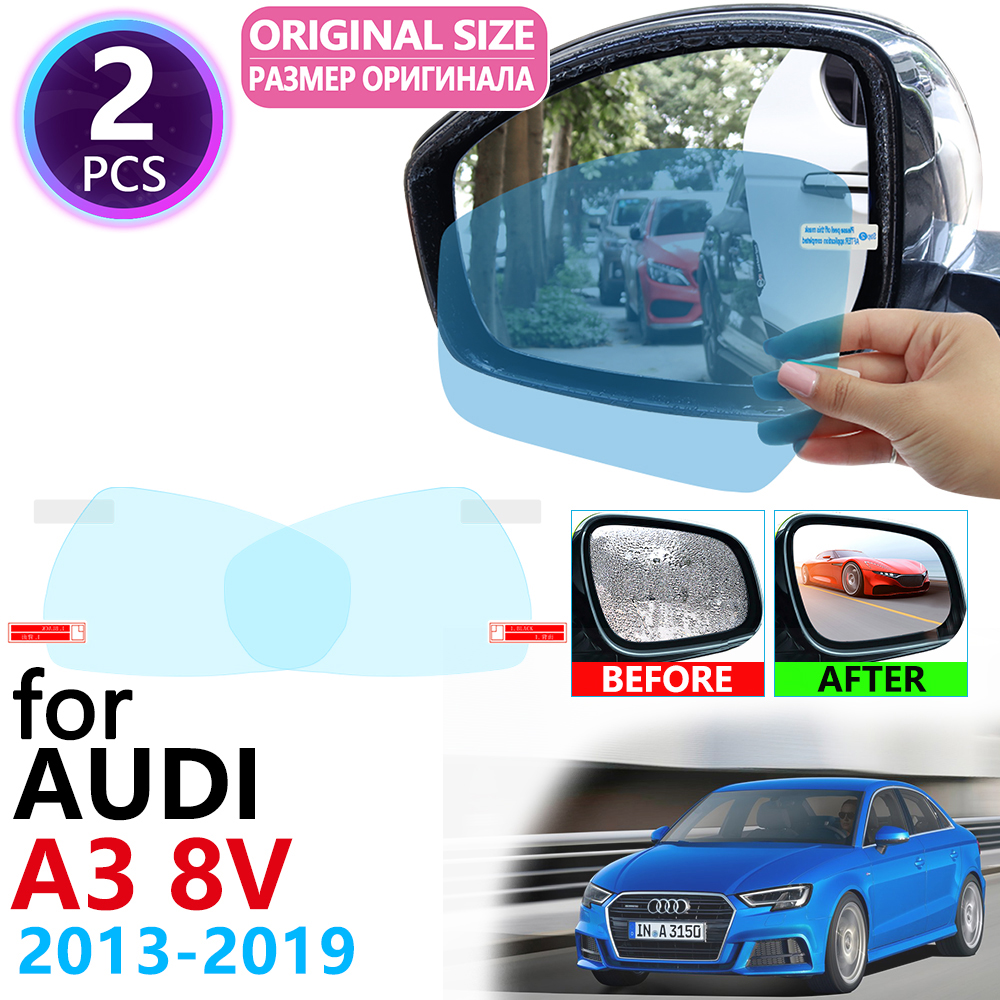 for Audi A3 8V 2013~2019 Full Cover Rearview Mirror Anti-Fog Films Rainproof Anti Fog Film Accessories 2014 2015 2016 2017 2018 image
