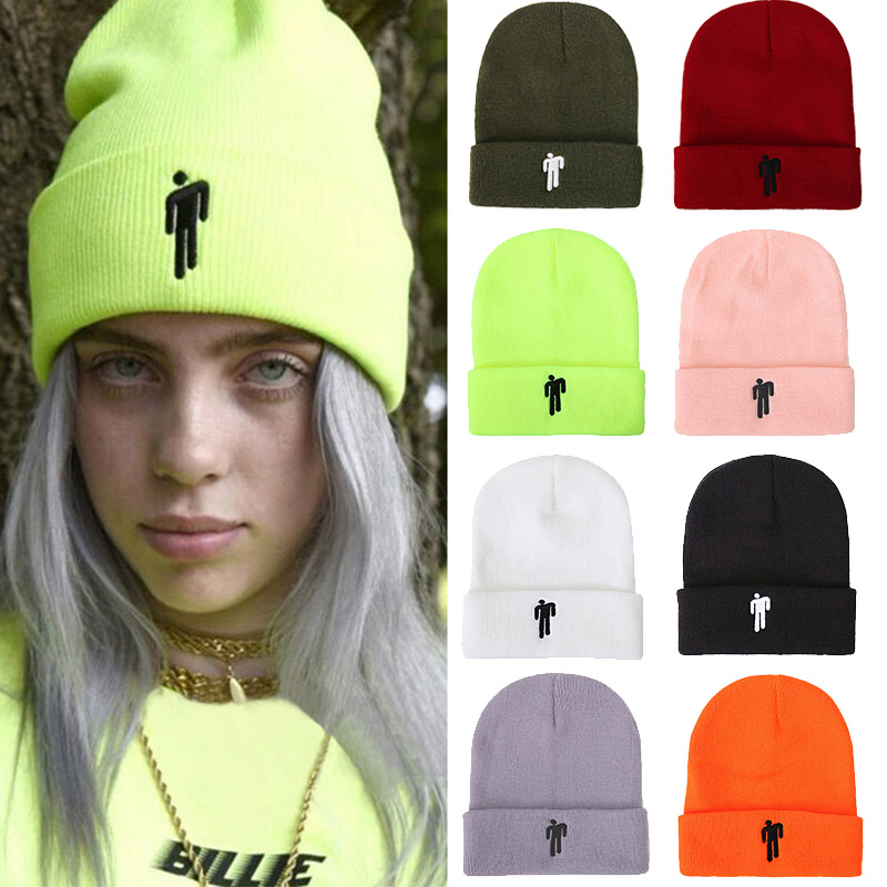 2019 Billie Eilish Beanie Hat Women Men Embroidery Little Man Knitted Warm Winter Hat Solid Hip-hop Casual Cuffed Beanies Bonnet