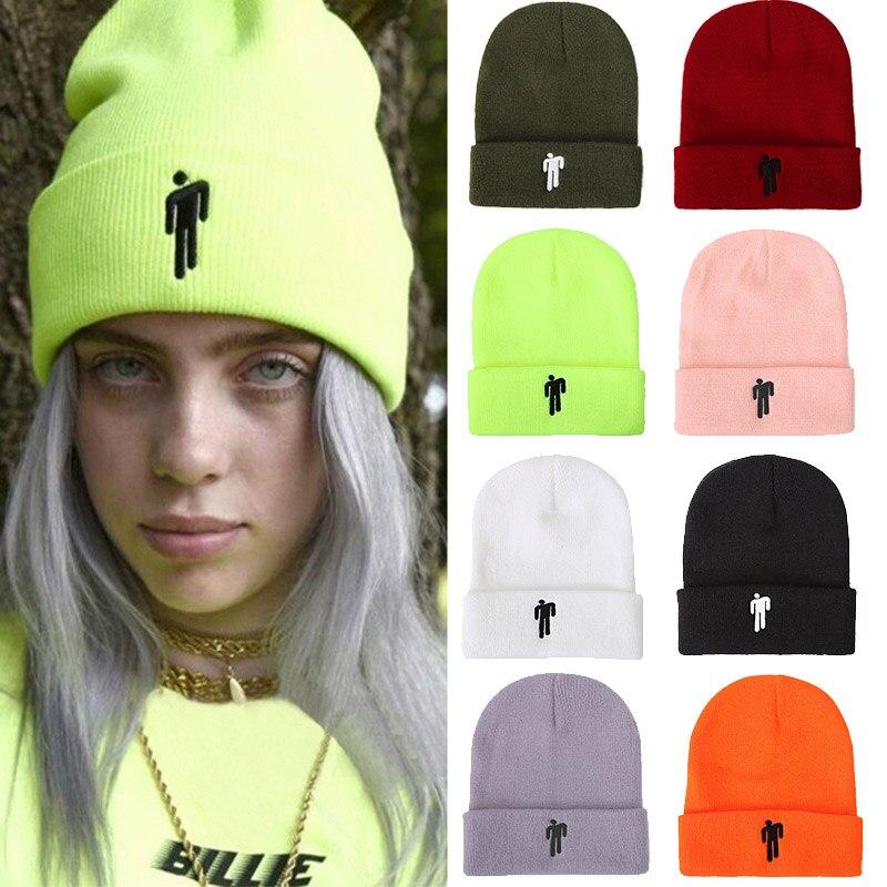 2020 Billie Eilish Beanie Hat Women Men Embroidery Little Man Knitted Warm Winter Hat Solid Hip-hop Casual Cuffed Beanies Bonnet