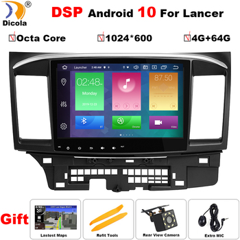 4G+64G DSP Android 10 Car DVD for MITSUBISHI LANCER 10.1 inch 2 DIN 3G/4G GPS radio video player with Capacitive 2007-2018 9 x