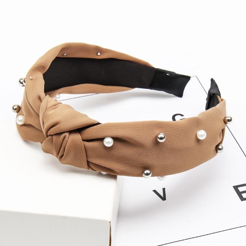Couleur unie noeud bandeaux pour femmes Simple tissu filles bandeau femmes cheveux accessoires large côté bandeau 7