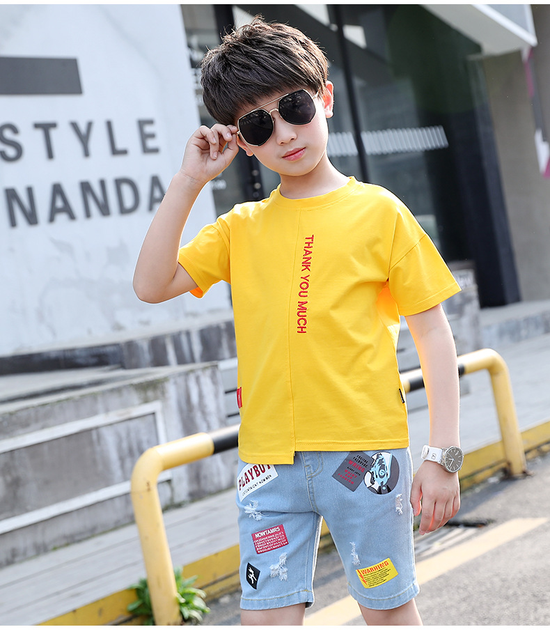 Novo verão meninos conjuntos de roupas crianças