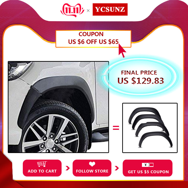 Fender Flares Mudguards Wheel Arch For Toyota Hilux 2016 2017 2018 2019 Double Cabin Slim Black