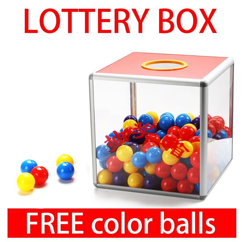 Transparent Lucky Box Removable Promotional Aluminum Alloy and MDF Lottery Box Party Supplies (25x25x25cm)