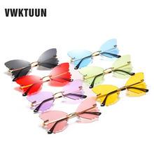 Женские солнцезащитные очки без оправы vwktuun красочные бабочки