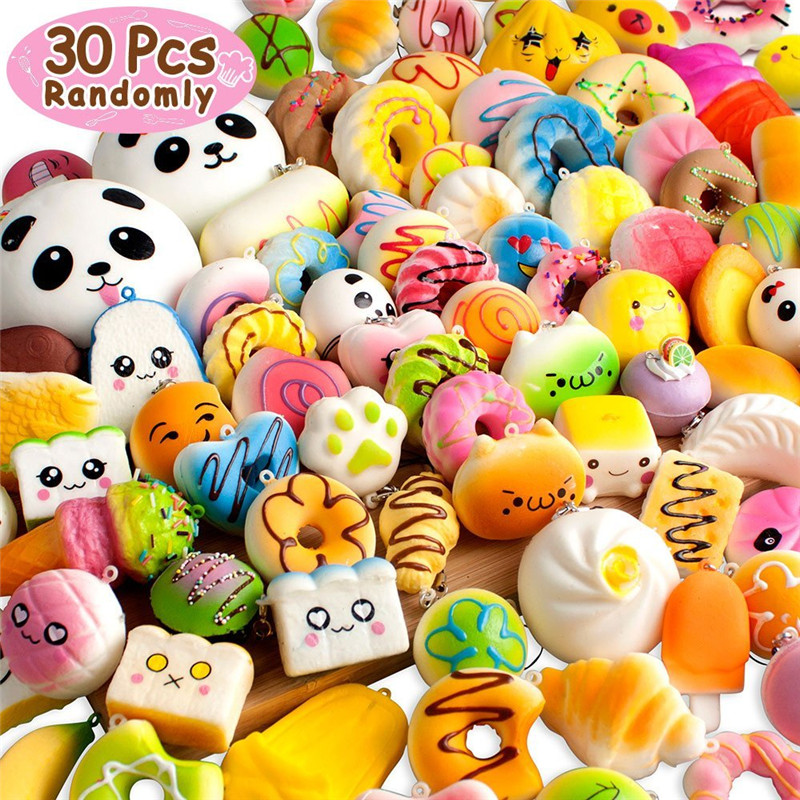 30pcs Mini Mixed Squishy Slow Rising Simulation PU Bread Soft Squeeze Toys Phone Straps Stress Relief Joke For Kid Xmas Gift Toy