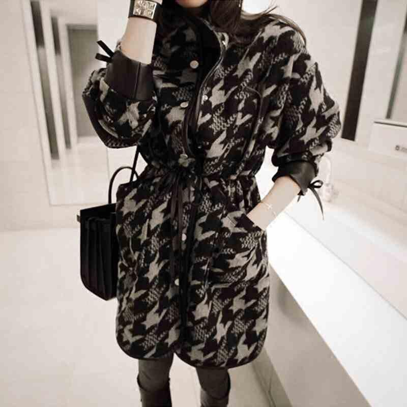New Chic Korean Woolen Coat Female Houndstooth Long Retro Lattice Blend Jacket Winter Fashion Flannel Loose Casual Outwear f1555