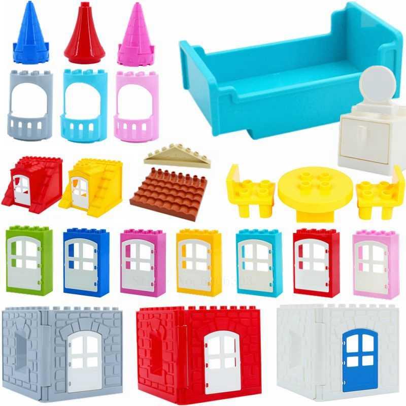 متوافق Legoing الانكليزي اللبنات الجسيمات الباب نافذة كبيرة السرير DIY الاكسسوارات أجزاء الطوب مدينة الخالق Legoings اللعب