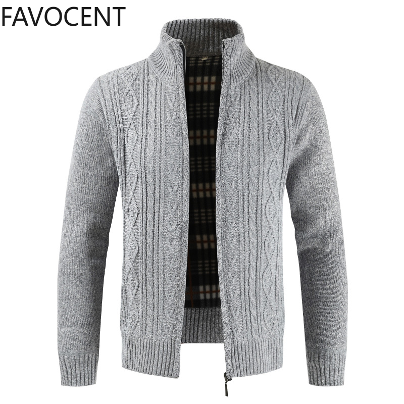 New Fashion Sweater Cardigan Jacket Men's Slim Thick Jumper Knit Zipper Warm Winter Casual Business Style Men's Sweater Coats