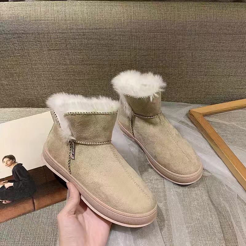 Cotton shoes women's non-slip flat 2019 autumn and winter new wild warm plus velvet thick short boots student snow boots