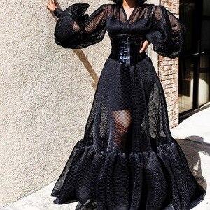 Женское прозрачное вечернее платье, элегантное прозрачное Сетчатое платье в пол с длинными рукавами для ночного клуба