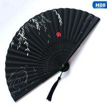 Китайский Японский складной веер деревянный хвостовик классического танца вентилятор высокое качество кисточкой элегантная обувь на плат...