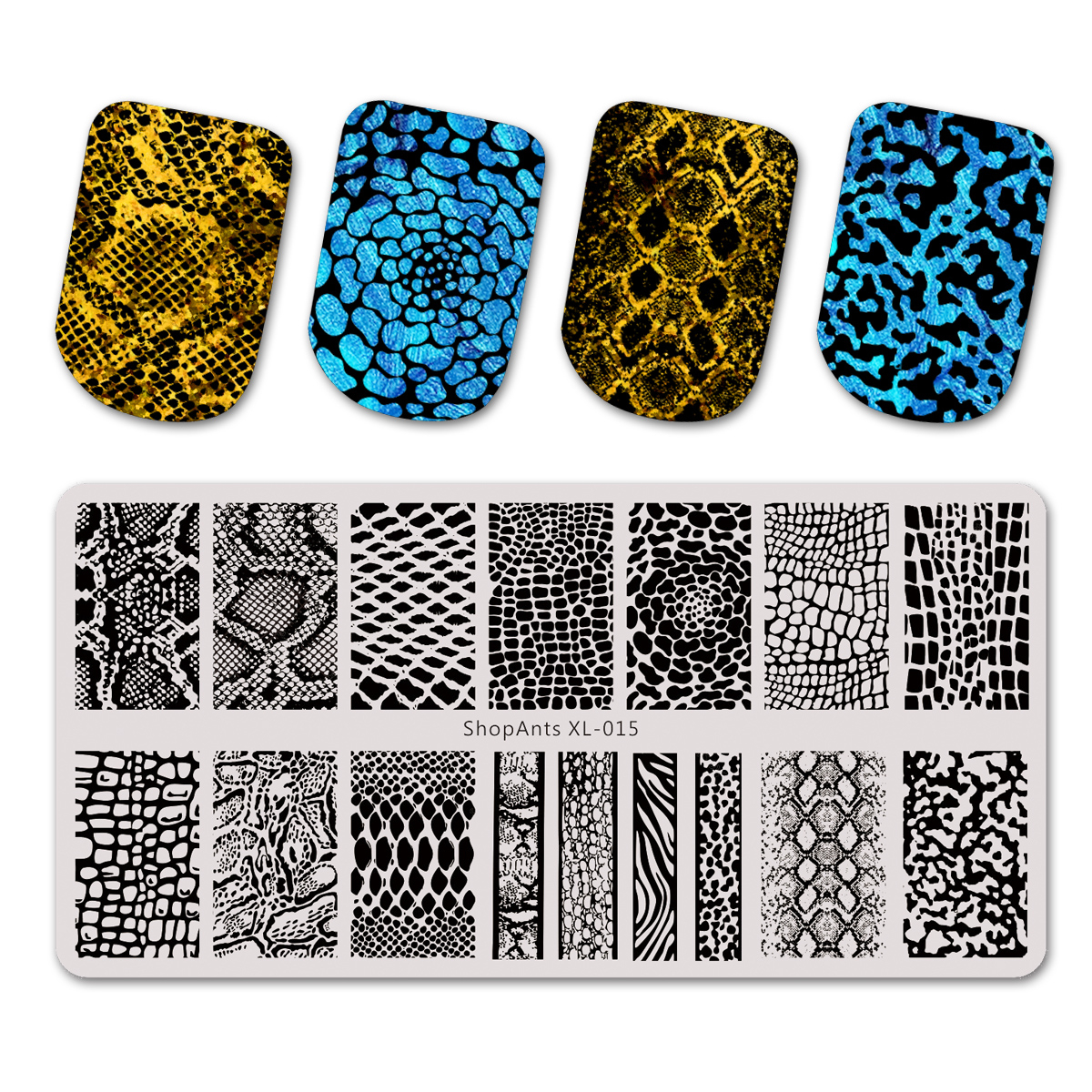 SHOPANTS 6*12cm New Rectangle Stainless Steel Nail Stamping Plate Snake Skin Pattern Nail Art Image Stamp Templates