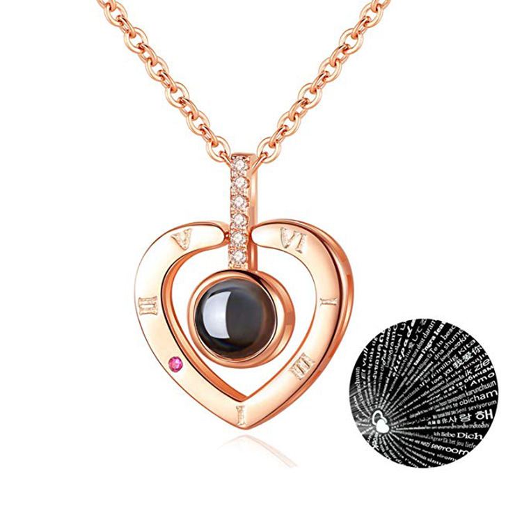 100 Kind Language I Love You Necklace Love Of Memory Douyin Projection Heart-shaped Pendant Titanium Steel Non-Fading Accessorie