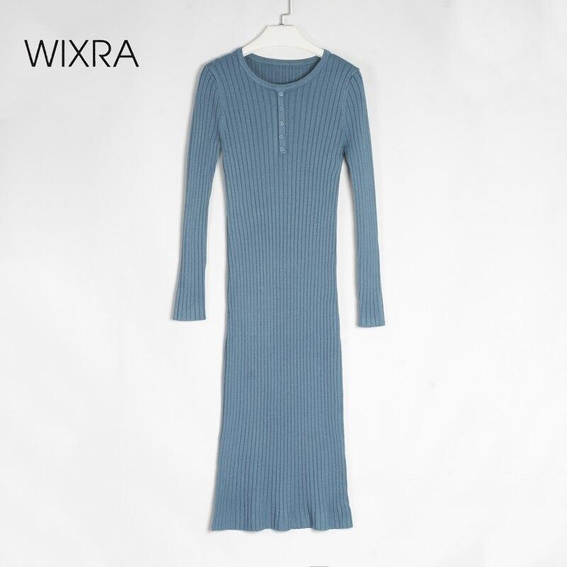 Трикотажное прямое платье с круглым вырезом, на пуговицах|Платья| | АлиЭкспресс