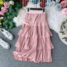 2019 Vintage Hepburn Women Cascading Ruffles Faux Suede Pleated Skirt Mid Long Mid-Claf Swing Skirts Femme pink skirt ботинки мужские merrell burnt rock tura mid suede цвет темно оливковый 95217 размер 11 5 46