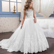 2019 Girls Dress White Bridesmaid Kids Dresses For Girls Children Long