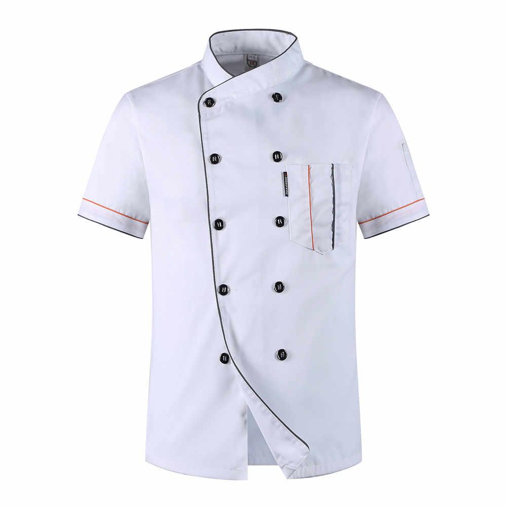주방 요리사 유니폼 식품 서비스 쿠커 자켓 반팔 요리사 셔츠 통기성 더블 브레스트 도매 요리사 코트