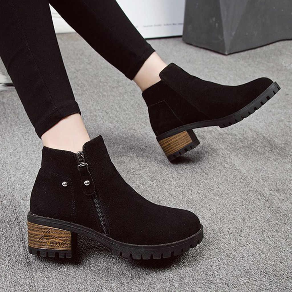 Tıknaz topuklu kısa çizmeler kadın moda rahat saf renk yuvarlak ayak fermuar yarım çizmeler Vintage kadınlar ayakkabı zapatos de mujer
