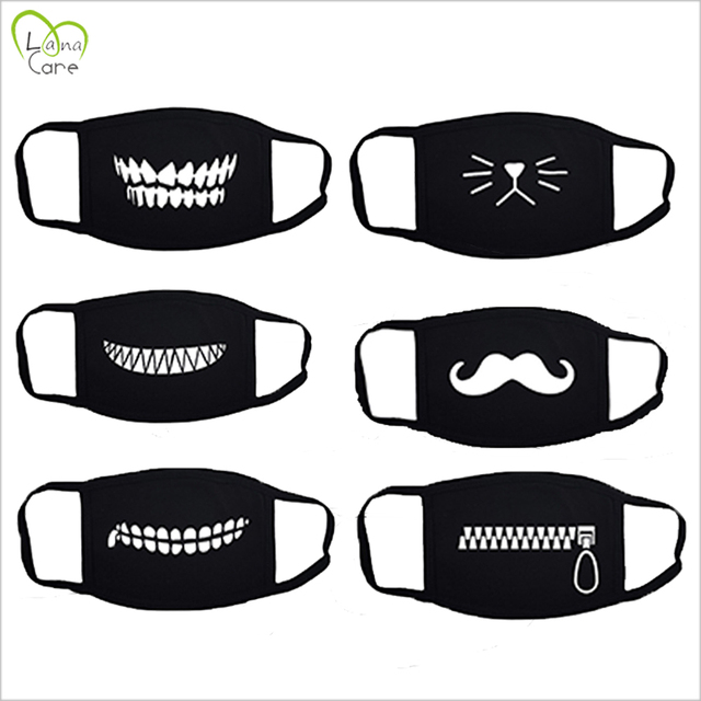 1PCS Unisex Black Cotton Mask Simple Masque Cycling  Breathable Washable Mouth Face Mask Warm Masks Daily 2