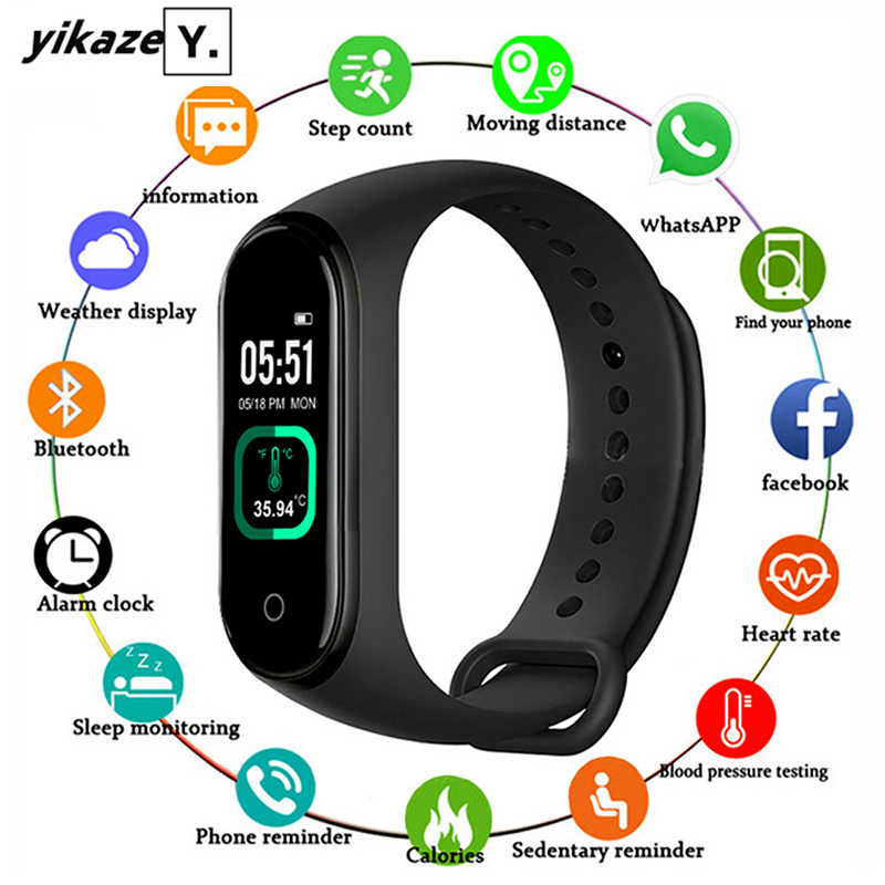 M4 Pro Smart Band Thermometer M4 Band Fitness Tracker Hartslag Bloeddrukmeter Armband Smart Horloge Voor Android Ios