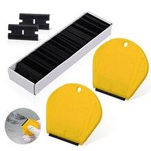 EHDIS 2 uds útil de rascador con 100 Uds de hoja de plástico de vinilo de la película de escobilla de tinte de ventanilla pegamento etiqueta engomada de limpieza herramienta