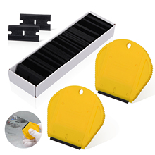 EHDIS 2pcs Handy Razor Scraper with 100pcs Plastic Blade Wrap Film Vinyl Squeegee Window Tint Glue Sticker Remover Cleaning Tool