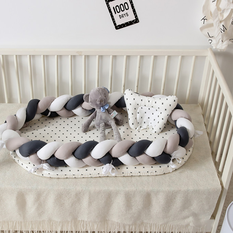 Infant Bed Sleeping Basket Portable Crib Newborn Baby Weaving Knot Bumpers Cotton Cot  Safety Protection  Sleeping