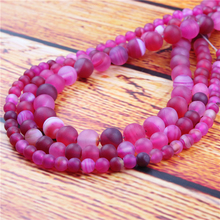 Rose Red Stripes Natural Stone Bead Round Loose Spaced Beads 15 Inch Strand 6/8/10/12mm For Jewelry Making DIY Bracelet