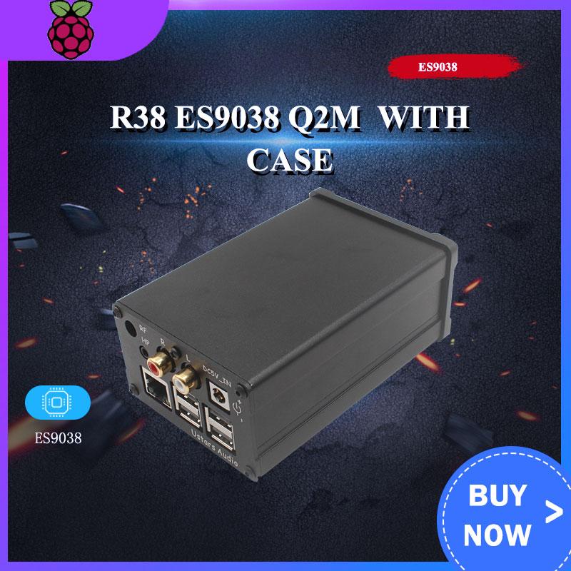 R38 ES9038 Q2M digital broadcast network player Raspberry Pi DAC I2S 384K DSD 128 With case for Raspberry pi 3B/3B+/4B