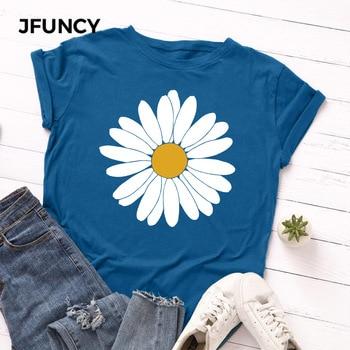 JFUNCY Plus Size Multicolor Printed T-shirt Women 100% Cotton Tshirt Summer Tees Tops Short Sleeve Woman T Shirt Female Shirts недорого