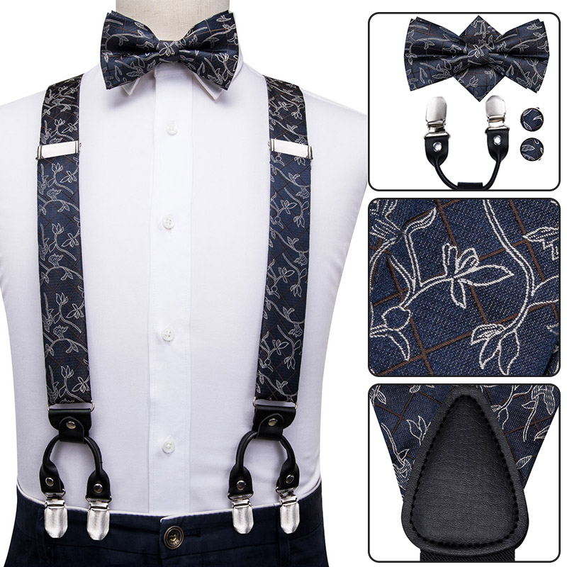 BD-3031 Hi-Tie Luxury Brand Silk Adult Men's Bow Tie Suspenders Blue Floral Suspender Leather Metal 6 Clips Suspender Braces
