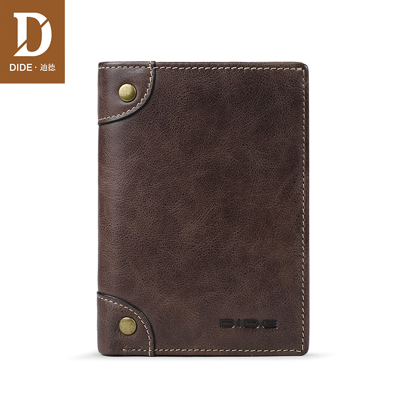 DIDE Men 39 s Wallet Genuine Leather Short Vertical Wallet Male Brand Vintage Design Zipper Coin Purse Card Holder Dropshipping in Wallets from Luggage amp Bags