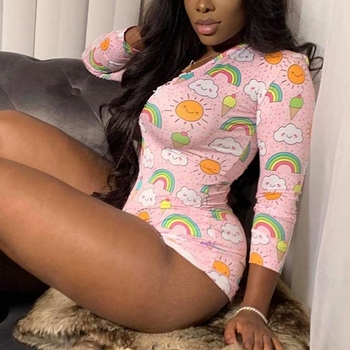 2020 Cartoon Cookies Sexy Onesie For Adults Women Pajamas  Pyjamas Sleepwear Short Romper Jumpsuit Bodysuit
