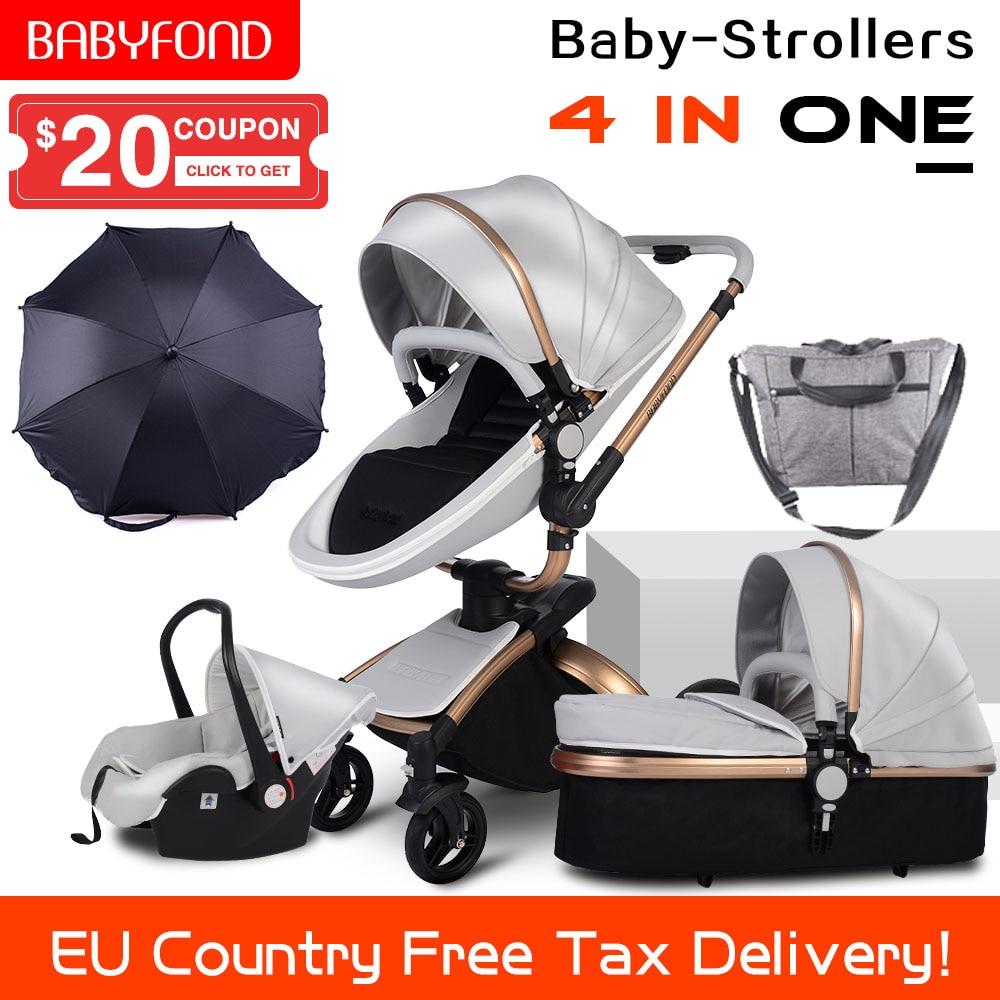 CE стандарт, роскошная коляска с высоким пейзажем, Золотая рама, для детей 0-3 лет, 4 в 1, детская коляска с зонтиком и сумкой, 8 подарков