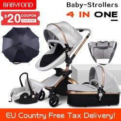 CE estándar de lujo alto paisaje cochecito oro marco 0-3 años de edad bebé 4 en 1 cochecito de bebé con paraguas y bolsas 8 regalos