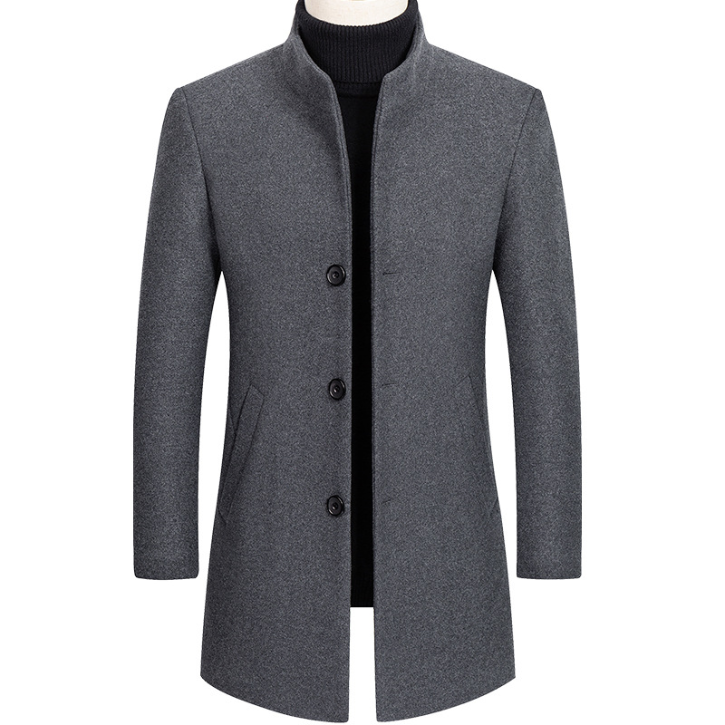 Men Thick Woolen Coat Business Grey Wool Blend Coat Male Long Sleeve Top Casual Mens Overcoat Oversize Boys Winter Outerwear 4xl