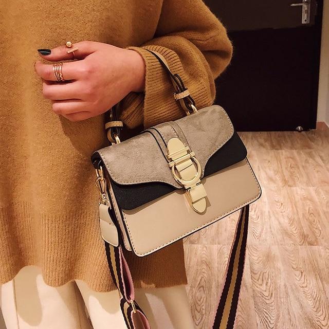2019 New Brand Women Leather Handbags Famous Luxury Designer Contrast Color Fashion Shoulder Bags Female Crossbody Purses Bolsas